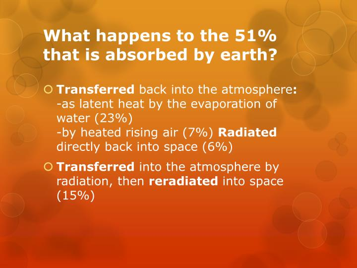 What happens to the 51% that is absorbed by earth?