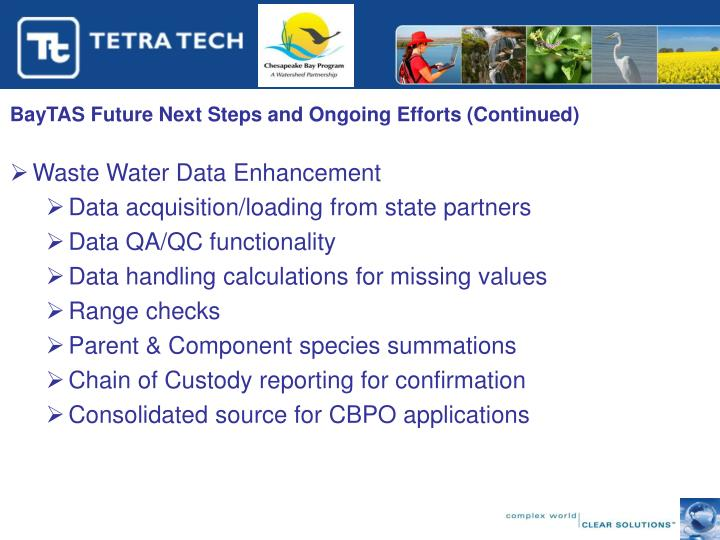 BayTAS Future Next Steps and Ongoing Efforts (Continued)