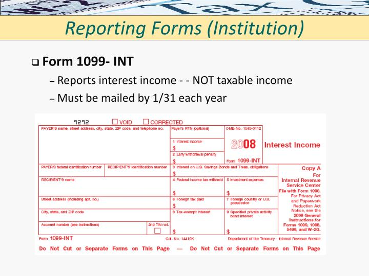 Reporting Forms (Institution)