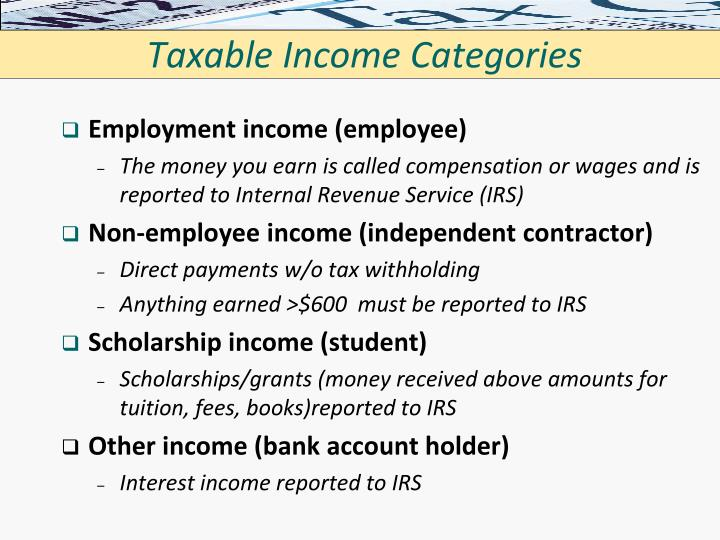 Taxable Income Categories