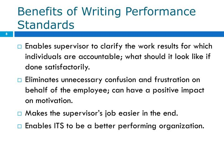 Benefits of Writing Performance Standards