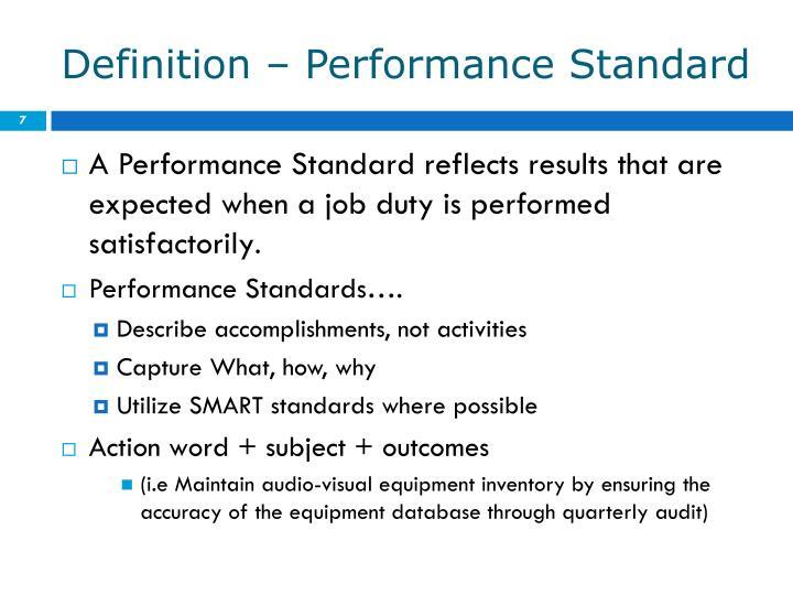 Definition – Performance Standard