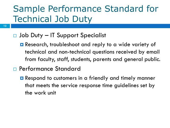 Sample Performance Standard for Technical Job Duty