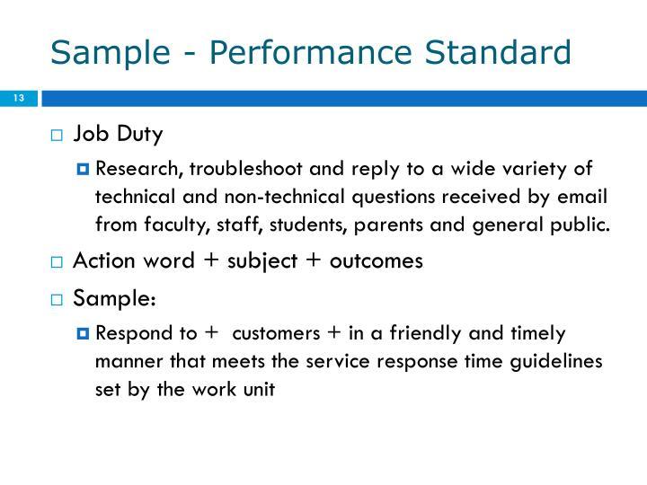 Sample - Performance Standard