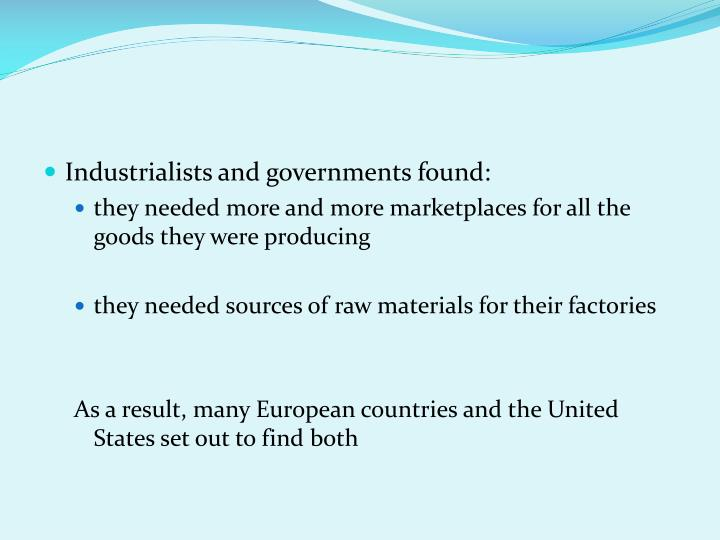 Industrialists and governments found: