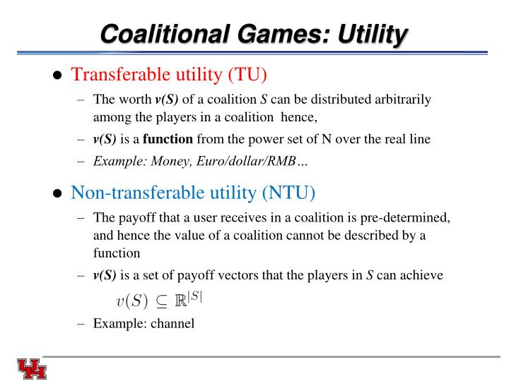 Coalitional Games: Utility