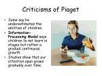 criticisms of piaget