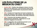 les volutions de la mission du chsct