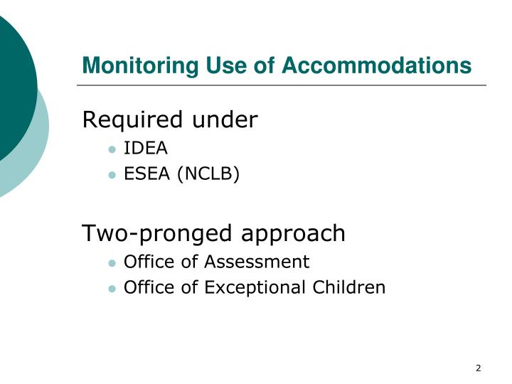Monitoring use of accommodations