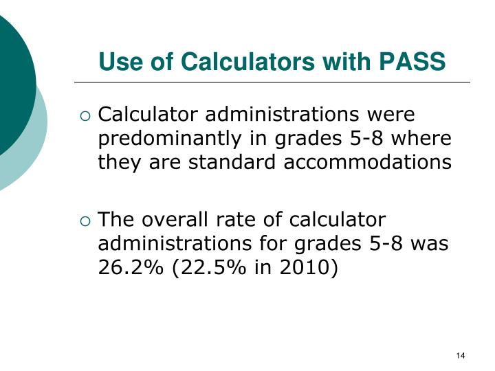 Use of Calculators with PASS