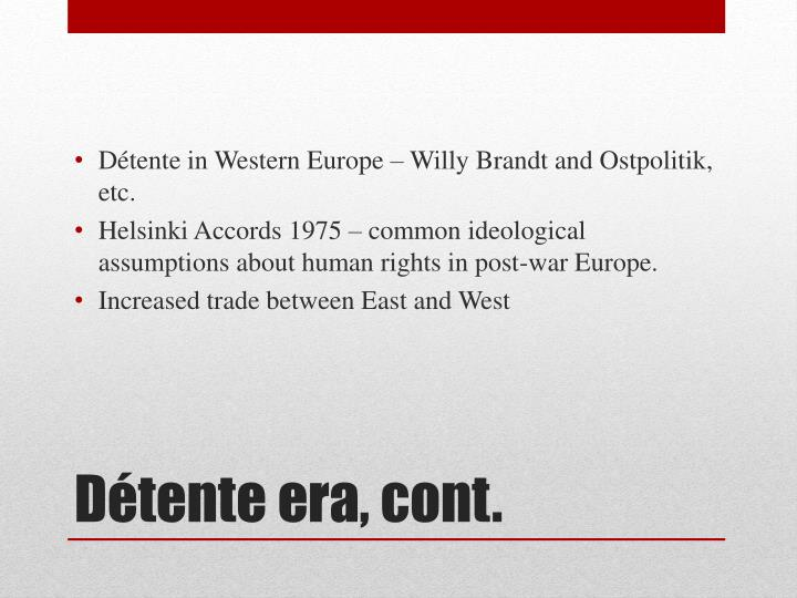 Détente in Western Europe – Willy Brandt and