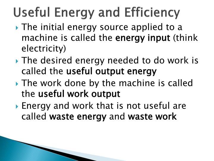 Useful energy and efficiency