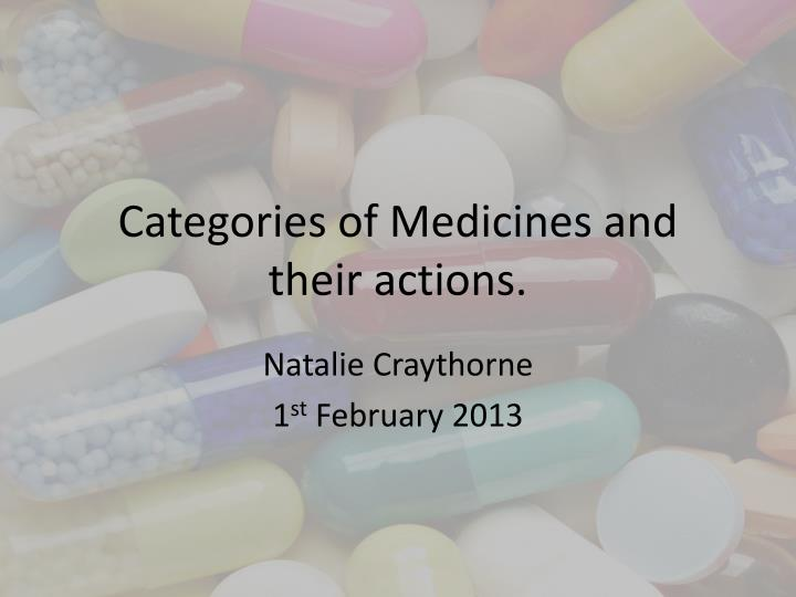 categories of medicines and their actions n.