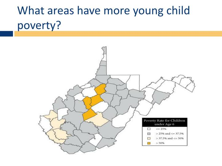 What areas have more young child poverty?