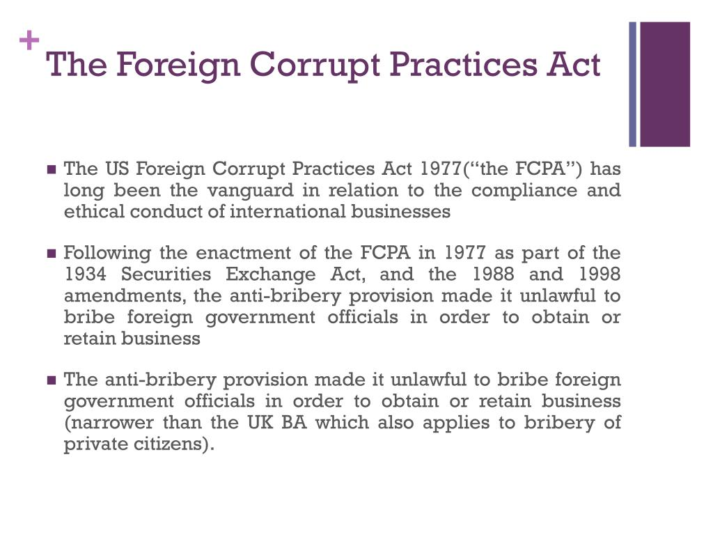 Ppt Comparison Of Uk Bribery And Us Foreign Corrupt
