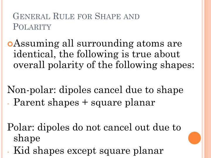 General Rule for Shape and Polarity