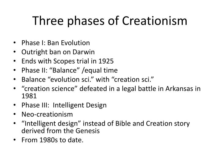 three phases of creationism n.