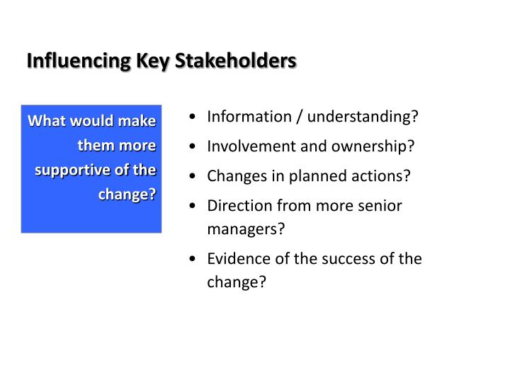key stakeholders A key stakeholder perspective, informed by illustrative quantitative and qualitative data, is developed for hospital administrators these data provide answers to the questions, who matters to.