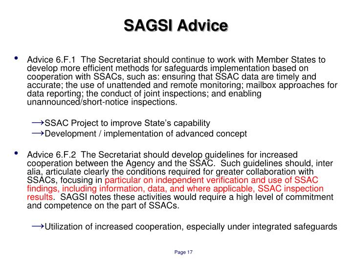 SAGSI Advice