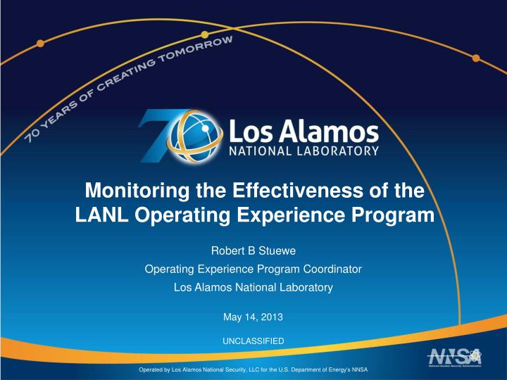 monitoring the effectiveness of the lanl operating experience program n.