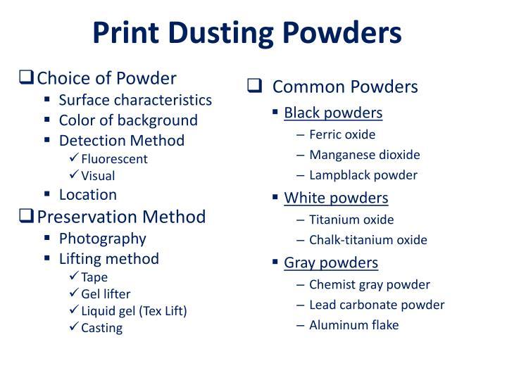 Print Dusting Powders