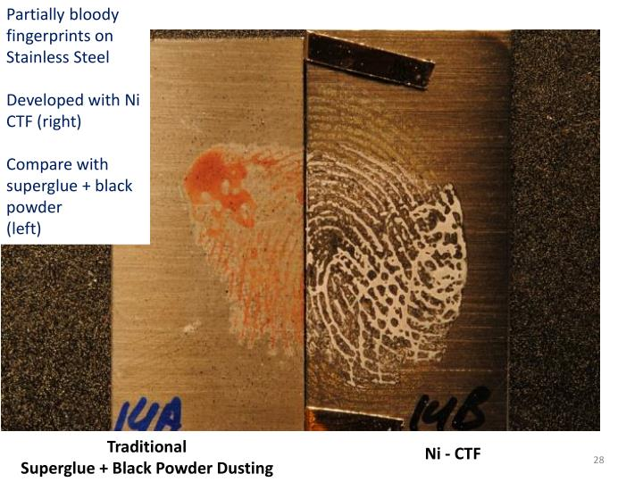 Partially bloody fingerprints on Stainless Steel
