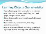 learning objects characteristics