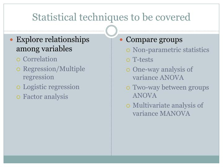 Statistical techniques to be covered