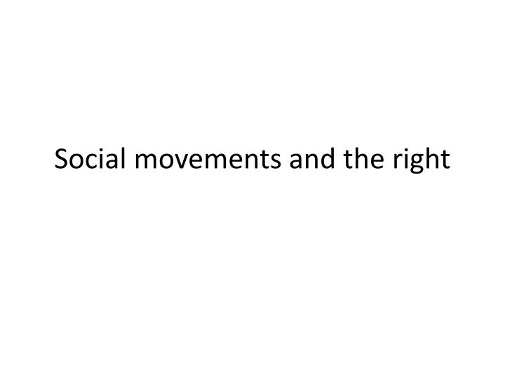 social movements and the right n.