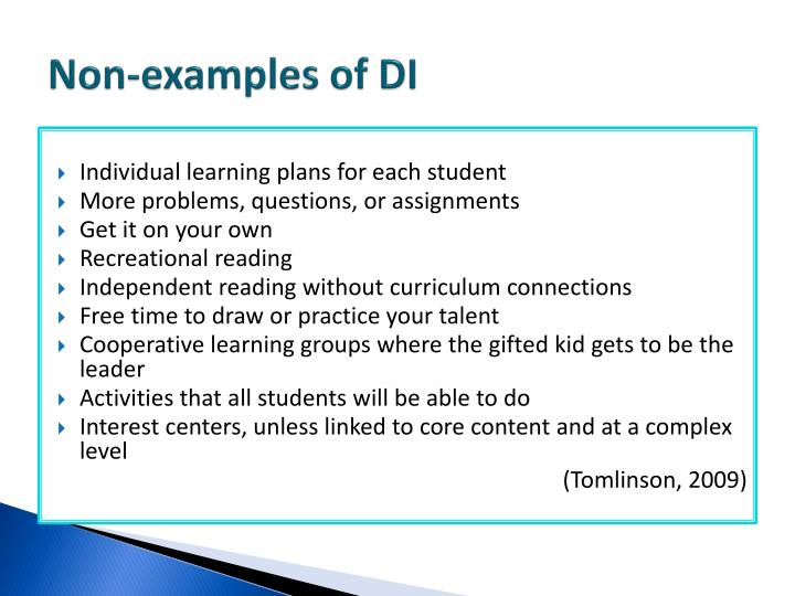 Non-examples of DI