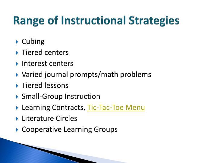 Range of Instructional Strategies