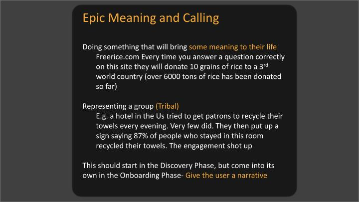 Epic Meaning and Calling