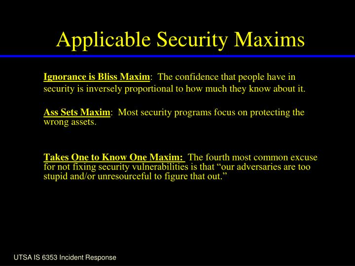 Applicable Security Maxims