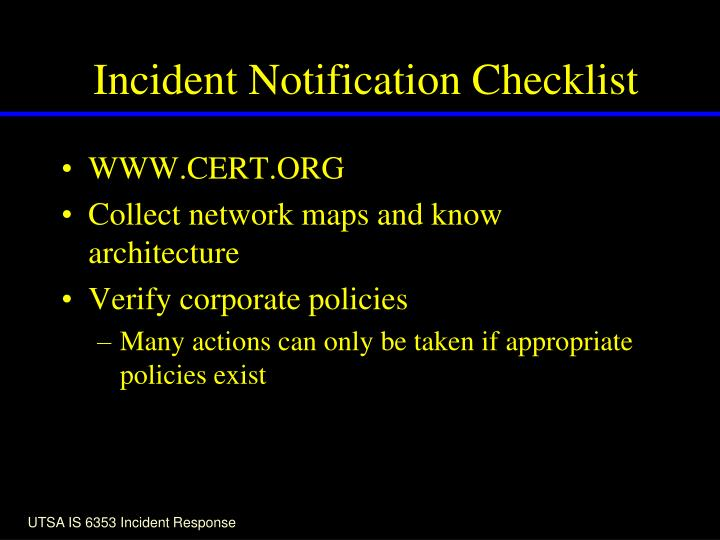 Incident Notification Checklist
