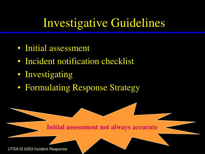 Investigative Guidelines