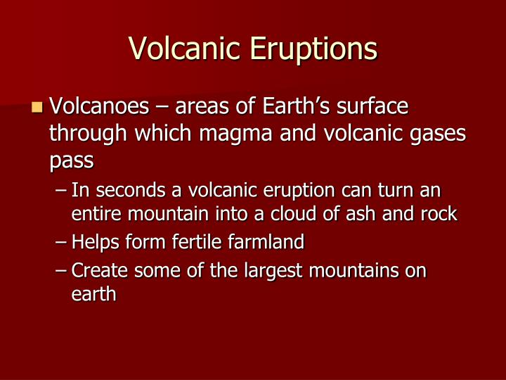 volcanic eruptions essay A volcano which has not erupted for a long time is known as 'dormant', whereas an 'extinct' volcano is one, which has stopped eruption over a long time 2 on the basis of mode of eruption as well as on the basis of nature of eruption, different types of volcanoes have been recognised.
