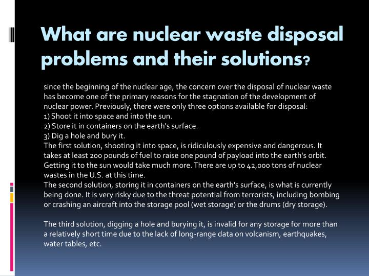What are nuclear waste disposal problems and their solutions?