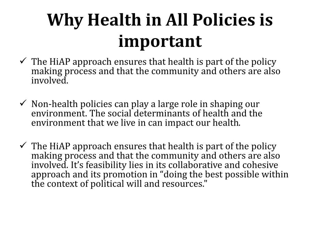 PPT - Health in All Policies PowerPoint Presentation, free ...