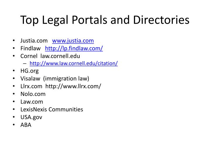 Top Legal Portals and Directories