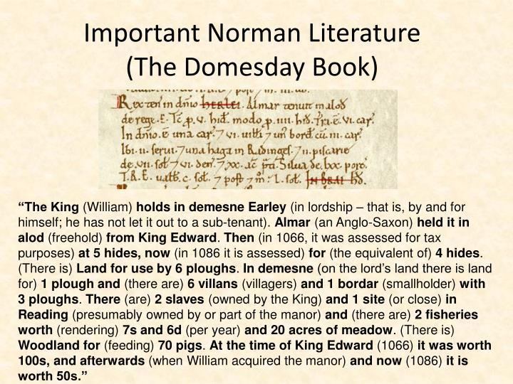 Important Norman Literature