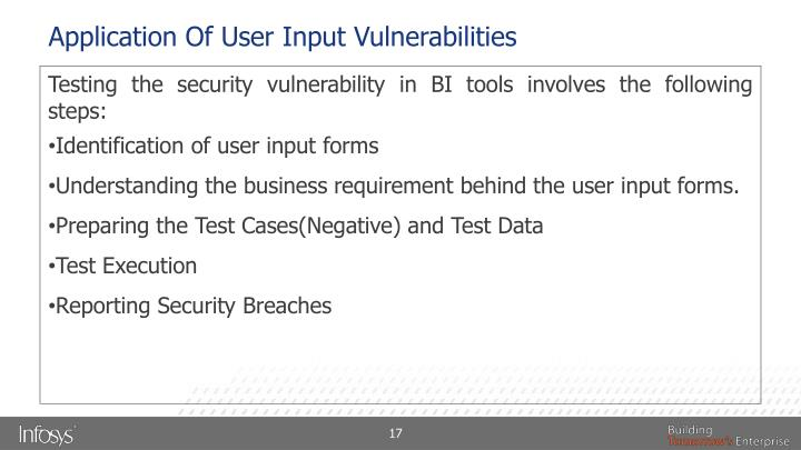 Application Of User Input Vulnerabilities