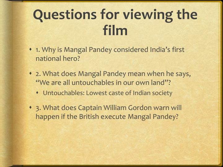 Questions for viewing the film