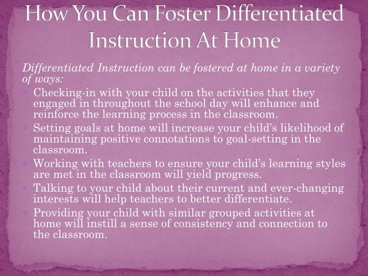 How You Can Foster Differentiated Instruction At Home