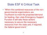 state esf 6 critical task