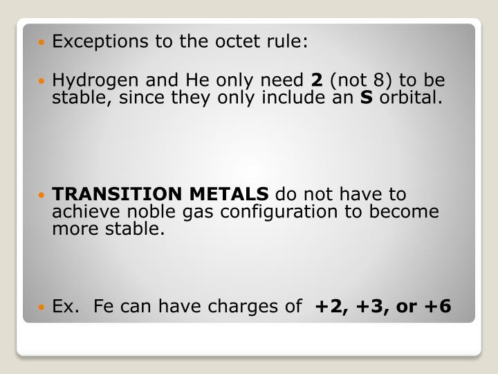 Exceptions to the octet rule: