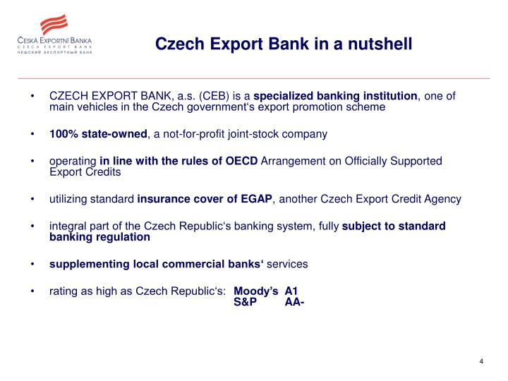 Czech Export Bank in a nutshell