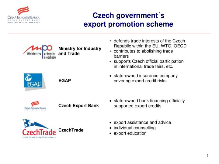 Czech government s export promotion scheme