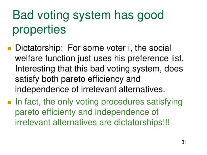 Bad voting system has good properties