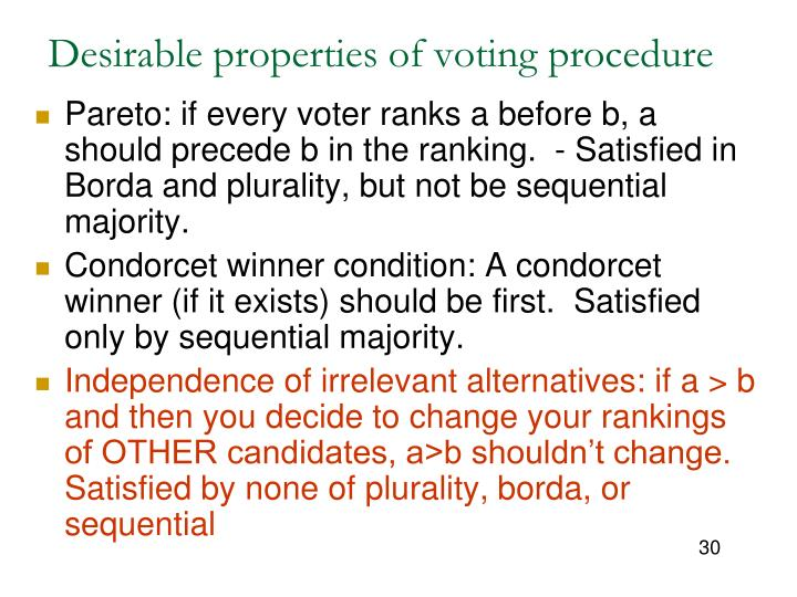 Desirable properties of voting procedure