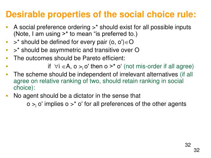Desirable properties of the social choice rule: